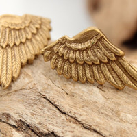 Angel wing earring studs- rustic steampunk stamped brass angel wing stud earrings with silver plated stud back