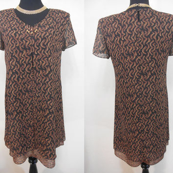 80s, Positive Attitude, Made in USA, Lined, Sheer Outershell, Layered, Brown & Black Print, Midi, Short Sleeve, Size 6 Dress - Fall