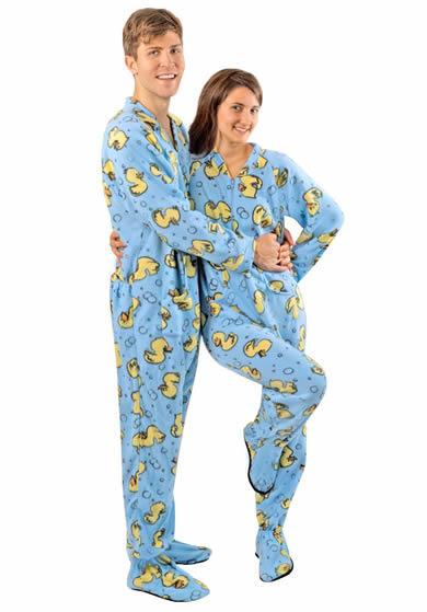 Adult footed pajamas with rubber feet