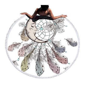 Moon and Dreamcatcher Tassel Mandala Tapestry Bohemian Round Beach Towel