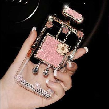 NEW Luxury Bling Crystal Perfume Bottle Back Cover Case For iPhone & Samsung
