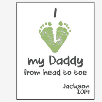 Personalized Father's Day gift footprint art print for New Dad from child or baby I Love My Daddy