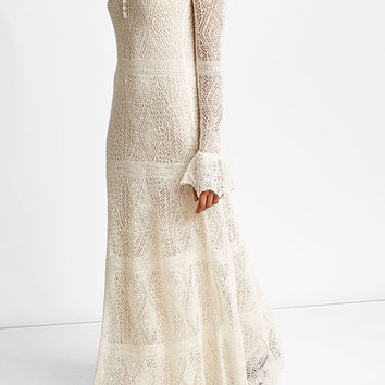 Open Lace Dress with Silk - Alexander McQueen | WOMEN | US STYLEBOP.COM
