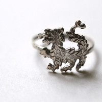 Chinese Dragon Ring Hammered Silver Handforged Ring by fifthheaven