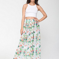American Apparel - Flamingo Print Chiffon Single-Layered Full Length Skirt