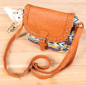Tribal Aztec Crossbody Canvas Leather Shoulder Bag