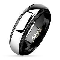 8mm Milled Edge Two Tone Black IP Stainless Steel Band Men's Ring