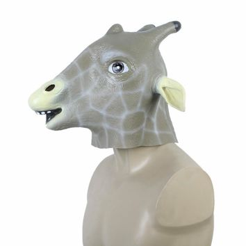 Unique Latex Animal Giraffe Head Mask Halloween Costume Party Christmas Theater Prop