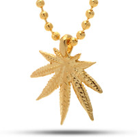 King Ice 14K Gold Marijuana Leaf Necklace