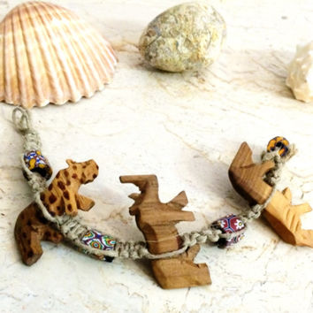 Authentic African Charm Hemp Bracelet with Hand Carved Animal Charms and Painted Beads
