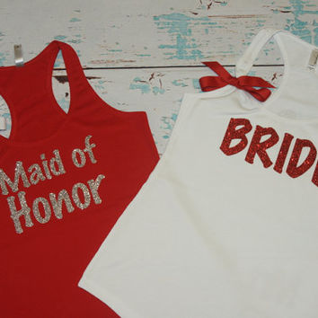 Bride (2) Bridesmaid Tank Top Maid of Honor. Bridal Party Bachelorette Customized Personalized