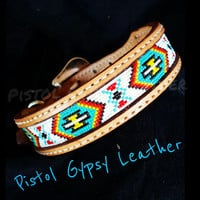 "1 1/4"" Wide Beaded Dog Collar"