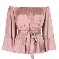 Pink Off Shoulder Ruffle Hem 3/4 Sleeve Tie Waist Satin Blouse