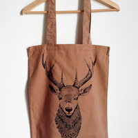 Deer bust canvas tote bag. screen print on cotton.LIGHT BROWN.GIFT idea for her or for him. Handmade illustration, for animal/nature lovers!
