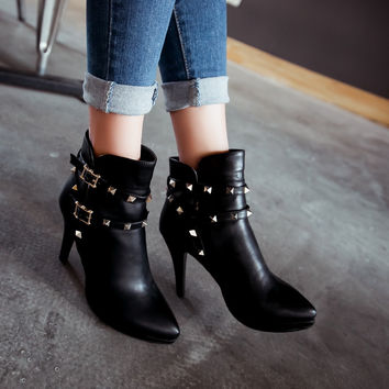 Studded High Heels Ankle Boots Stiletto Heel Women Shoes New Arrival
