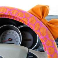 The Original Glittery Pink and Orange Giraffe Steering Wheel Cover with Matching Orange Bow