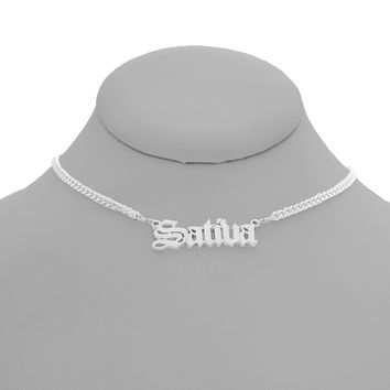 Sativa Nameplate Necklace