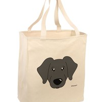 Cute Black Labrador Retriever Dog Large Grocery Tote Bag by TooLoud