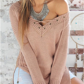 Long Sleeve Pullover Knit Women's Fashion V-neck Tops [9342352900]