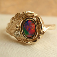 14k Yellow Gold Ring Fiery Opal Doublet Diamond Accent
