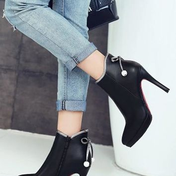 New Women Black Point Toe Stiletto Bow Casual Ankle Boots