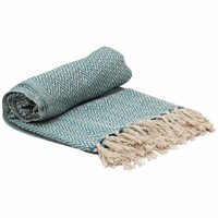 Soft Knitted Cotton Throw Blanket With Tassels, Blue And White By Benzara