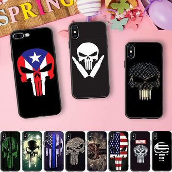 Marvel Punisher Skulls Black Soft Silicone for iPhone 10 X 5 S 5S SE 6 6S 7 8 Plus 7plus