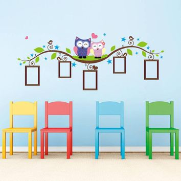 Vinyl Quote Wall Sticker / Decal - Free Shipping - Owl family picture frame tree branch