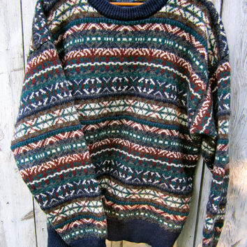 Vintage Nordic pullover sweater jumper, Men's XL, Cambridge 100% Wool, Navy blue trim
