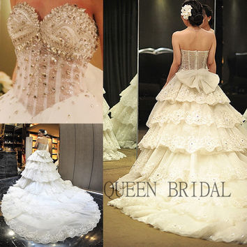 Long train applique lace layered wedding dress crystal beaded pearls 2017 bridal gown china bridal  dresses wedding gowns XD52