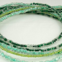 Green Multistrand Seed Bead Necklace by theotherstacey on Etsy