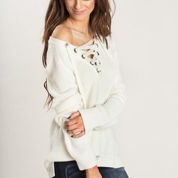 Peyton Ivory Lace Up Sweater