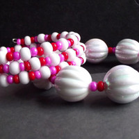 Pink, Red and White Bracelets:  Colorful Stacked Arm Candy, Chunky Beaded Cuff, Wrist Party, Versatile Wrap, Teen Back to School Accessory