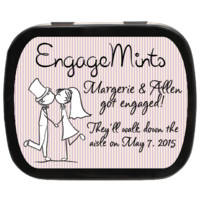 Kissing Couple Personalized Engagement Mint Tins, Wedding Favors, Candy Favors