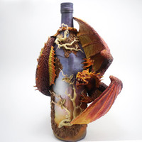 "Decorated bottle "" Dawn"", dragon figurine making, figure, dragon statue, dragon sculpture, altered bottle, red dragon"