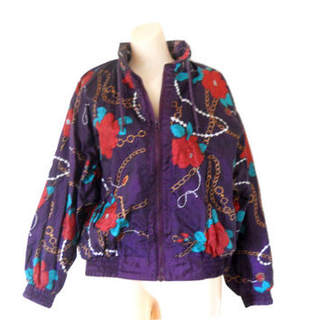 Women Windbreaker 80s 90s Windbreaker Jacket Wind Breaker Floral Windbreaker Purple Windbreaker Spring Jacket Retro Windbreaker Light Jacket