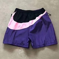 "Hot Sale ""Nike"" Popular Women Men Casual Retro Color Big Logo Print Embroidery Thin Mesh Yoga Sport Shorts Purple I-YF-MLBKS"