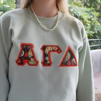 Sorority Paisley Applique Crewneck Sweatshirt with Alpha Gamma Delta