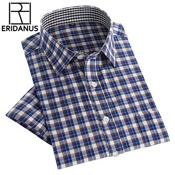 New Men Shirts Business Casual Short Sleeve Plaid Men's Dress Shirt Social Cool Fashion Clothes Slim Fit