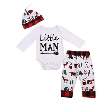 Newborn Letter Long Sleeve Baby Boy Romper Deer Pants Hat Outfits Clothes Christmas Baby Clothing