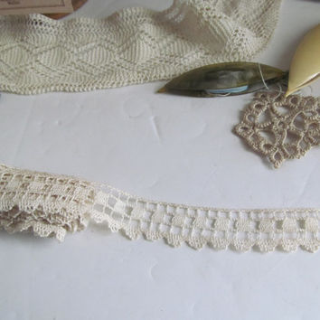 Antique Lace Yardage 2+ Hand Crochet Lace Yardage Antique Lace Trim by the Yard Notions White Wide Lace Yardage Embroidered Wide Lace Trim