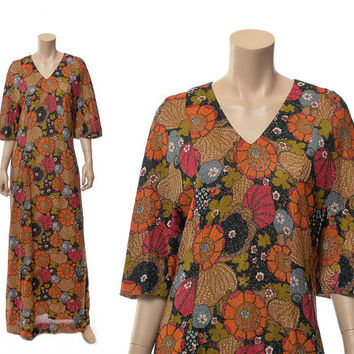 Vintage 60s 70s Mod Floral Metallic Maxi Dress 1960s 1970s Lurex Pop Art Flowers Cocktail Gown Caftan Autumn Fall Colors Dress / X-Large