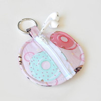 Donut Earbud Holder / Coin Pouch / Doughnut Coin Purse / Donuts / Earbud Case / Ear Bud Holder / Back to School / Small Circle Pouch / Pink