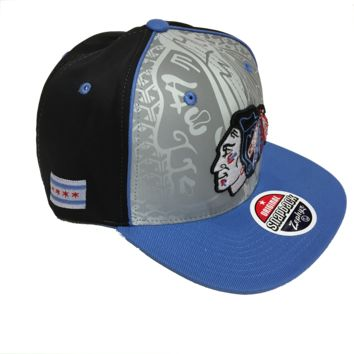 "CHICAGO BLACKHAWKS ""CHICAGO"" REFLECTOR SNAPBACK, BLK/SIL/RED/BLUE"