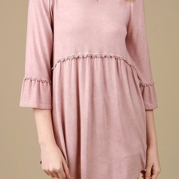 3/4 Sleeves Babydoll Top - Dusty pink