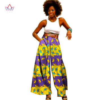 BRW Bazin Riche African Print Pants Plus Size African Clothing for Women Dashiki Office High Waist Loose Straight Pants WY1099