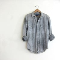 20% OFF SALE Vintage Gray stonewash cotton Shirt. Long Sleeve Shirt. Oversized Button Up Boyfriend Shirt.