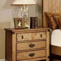 Mallon Country Style 3-Drawer Nightstand in Weathered Elm