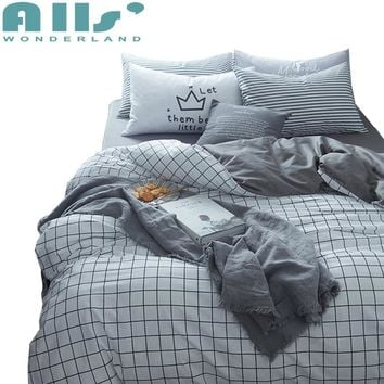 Grey Cotton King Size Bed Set Plaid Duvet Cover High Quality Bedding Set Twin Queen And King Size Brief Style Pillow Cases