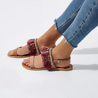 Pink tassel embellished leather sandals - Sandals - Shoes & Boots - women